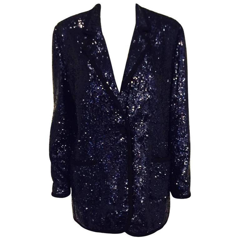 23d9350ad4f4 Tory Burch Queen of Pop Midnight Blue Sequin Dinner Jacket W Grosgrain Trim For  Sale
