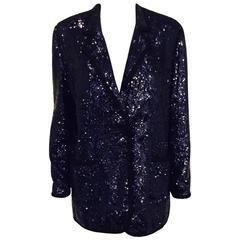 Tory Burch Queen of Pop Midnight Blue Sequin Dinner Jacket W Grosgrain Trim