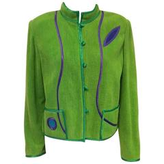 Annikki Karvinen Handmade Green Cotton Jacket With Abstract Appliques