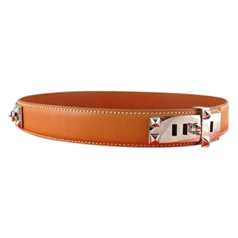 Hermes Brown Collier De Chien Cdc Belt Palladium Silver Hardware