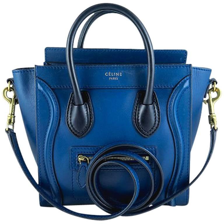 Celine Nano Bicolor Ocean Blue Black Handles Leather Luggage