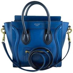 Celine Nano Bicolor Ocean Blue Black Handles Leather Luggage