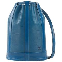 "LOUIS VUITTON c.1995 ""Randonnee"" Blue Epi Leather GM Sling Back Purse Backpack"
