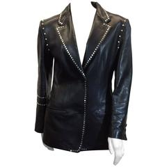 Gianni Versace Black Leather Studded Jacket