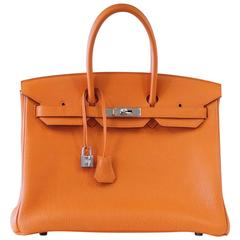 HERMES BIRKIN 35 Bag Iconic H Orange Togo Palladium Hardware