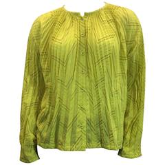 Issey Miyake Yellow & Gold Pleated Top