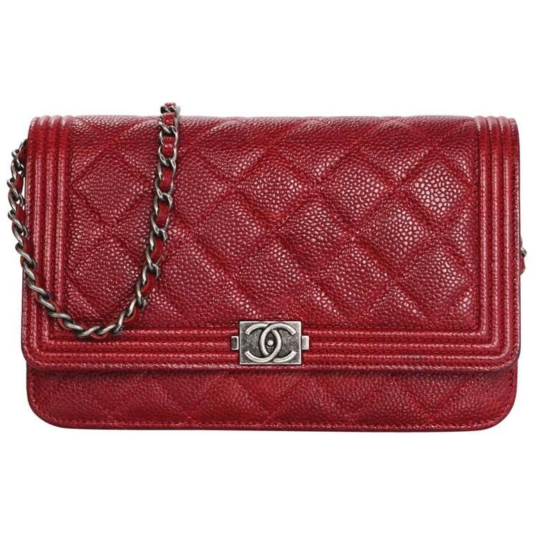 Chanel Red Caviar Leather Quilted Boy WOC Wallet on a Chain Crossbody Bag  For Sale ff6b5191e321
