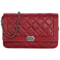 Chanel Red Caviar Leather Quilted Boy WOC Wallet on a Chain Crossbody Bag