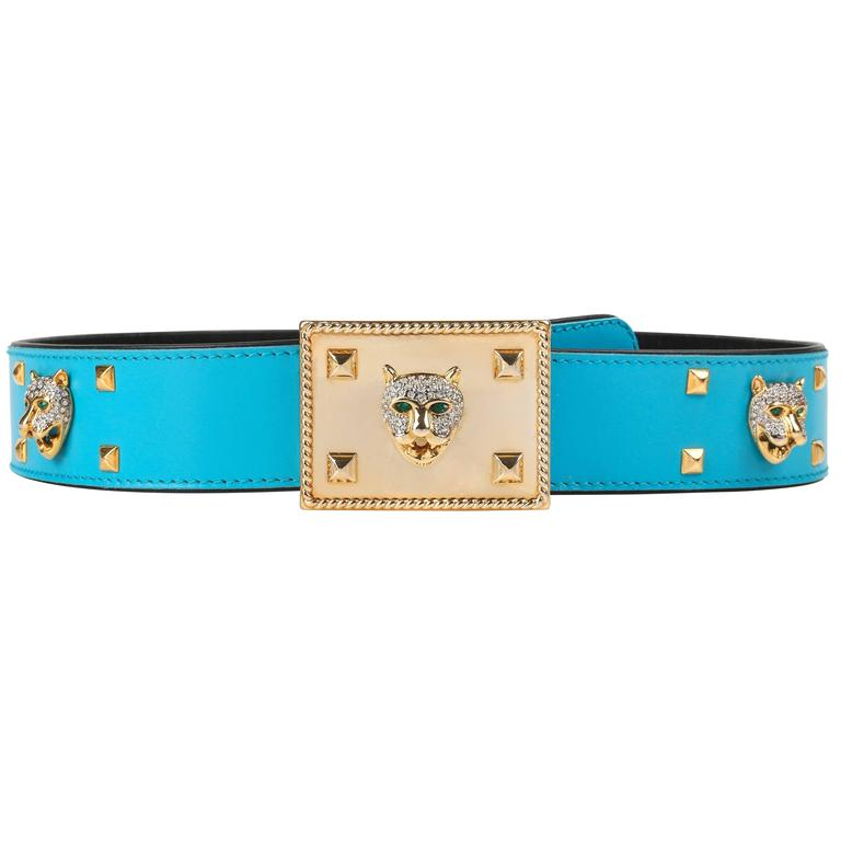 ESCADA c.1980's Turquoise Blue Leather Gold Studded Rhinestone Jaguar Belt For Sale