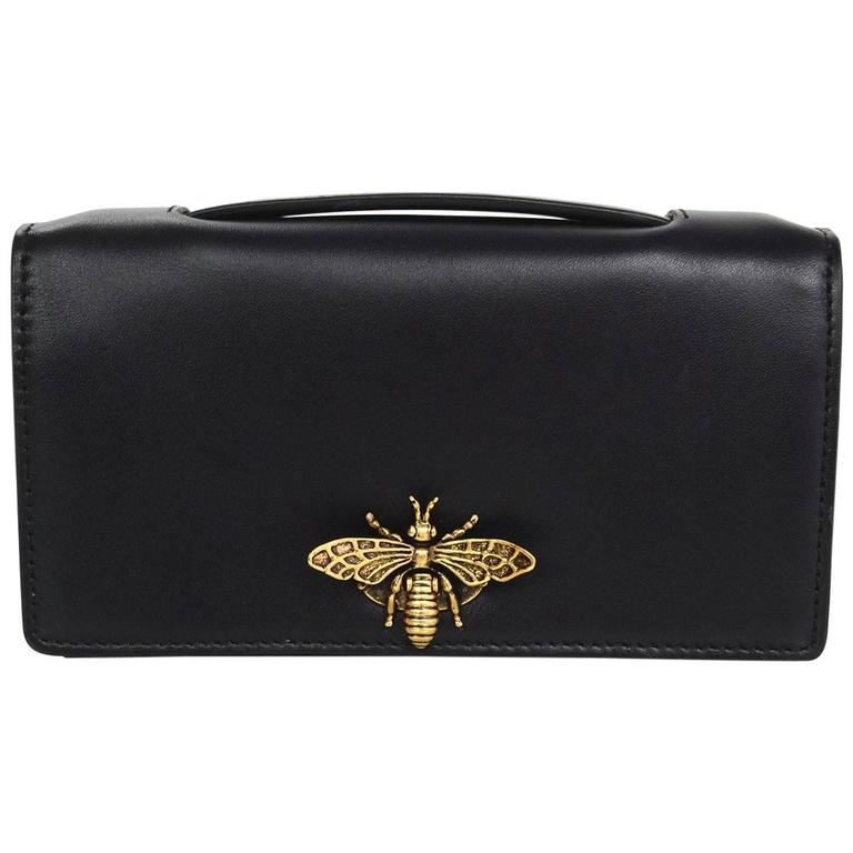 Dior 17 Black Calfskin Bee Pouch Clutch Bag For