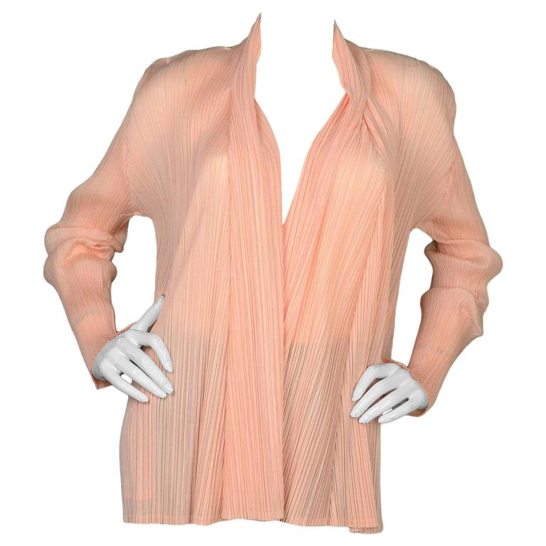 Pleats Please Peach Micro-Pleated Open Jacket sz 5 1