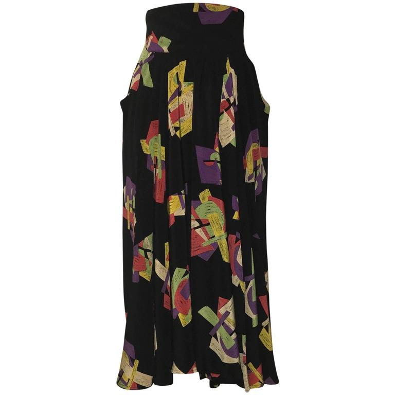 Karl Lagerfeld 1980s Black Abstract Cubist Collage Print Sik Maxi Skirt