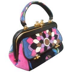 Emilio Pucci Rare Velvet Leather Trim Handbag ca 1970