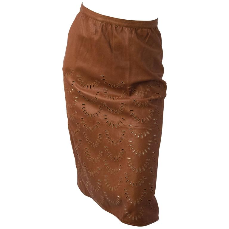 Valentino Calfskin Leather Skirt w/ Cut Work Detail