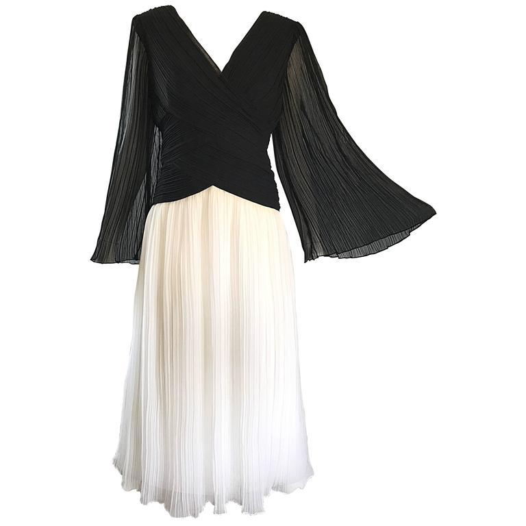 1970s Jill Richards Black and White Pleated Bell Sleeve Chiffon 70s Midi Dress