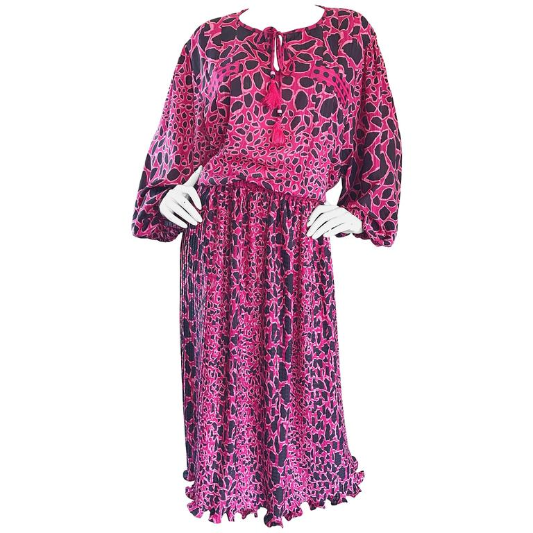 Amazing Plus Size Vintage Diane Freis Pink and Black Leopard Print Dress  Set 80s