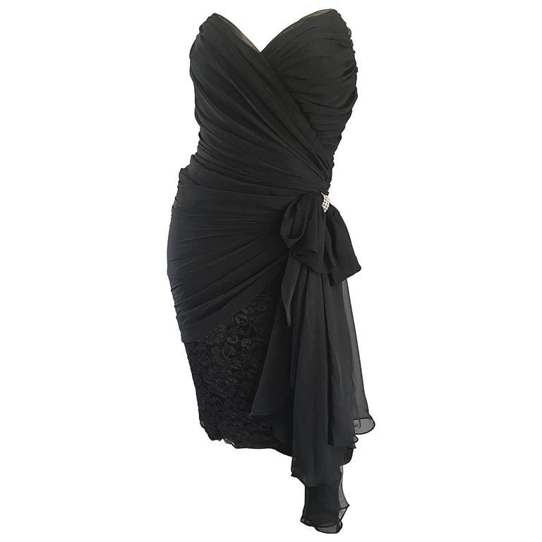 Vintage Tadashi Shoji 90s Black Strapless Chiffon, Lace, Rhinestone Dress Sz 10