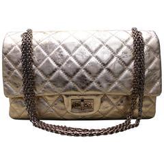 Chanel Rose Gold Metallic 2.55 Quilted Calfskin Shoulder Jumbo Double Flap Bag