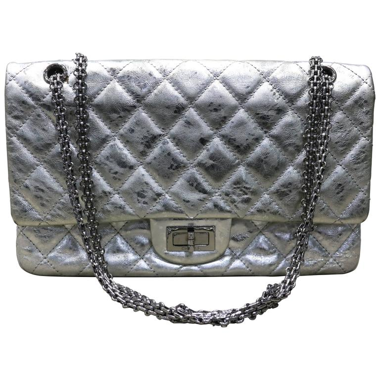 d93edfa203bd Chanel Silver Metallic 2.55 Quilted Calfskin Shoulder Jumbo Double Flap Bag  For Sale