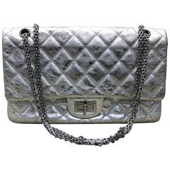 Chanel Silver Metallic 2.55 Quilted Calfskin Shoulder Jumbo Double Flap Bag