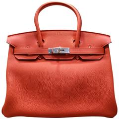 Hermes Birkin Red 30cm Togo Leather Bag