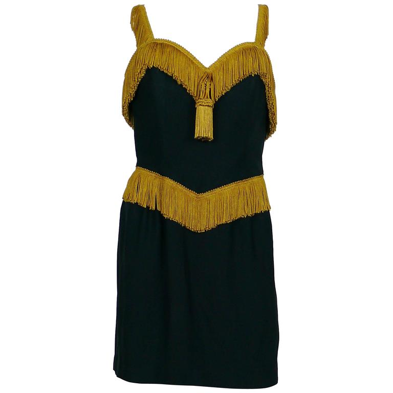 Moschino Couture Vintage Passementerie Tassel Black Cocktail Dress Size USA 10