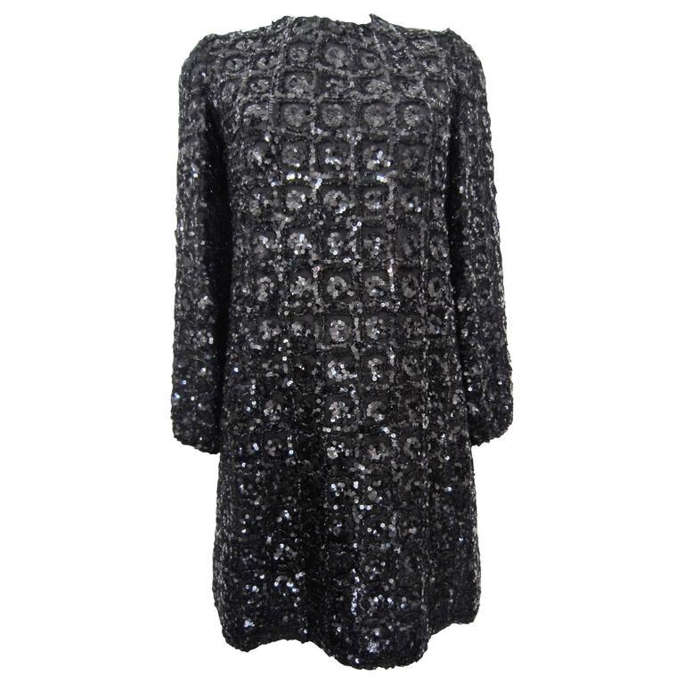 Vintage 1960s Black Sequin dress For Sale