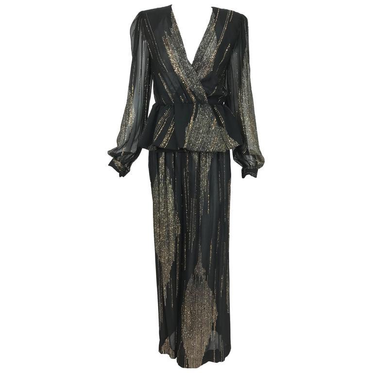 Vintage Pauline Trigere glitter black chiffon nip waist palazzo pant set 1980s