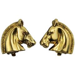Vntage Hermes Gold Plated Horse Earrings