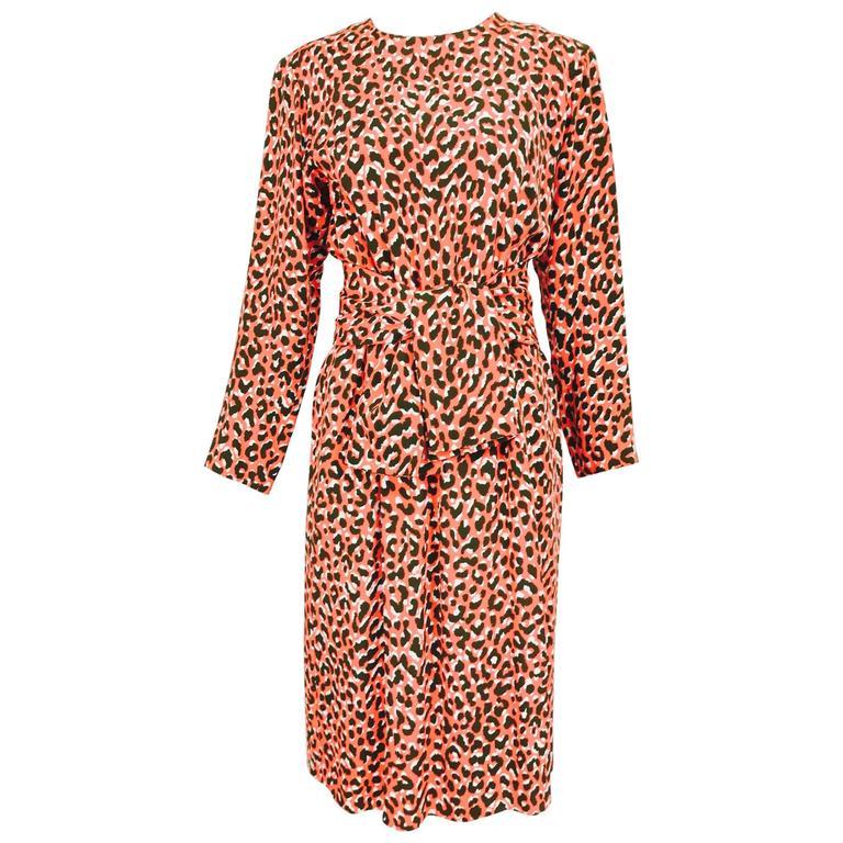 Yves Saint Laurent Rive Gauche cheetah print button back wrap waist dress 1980s 1