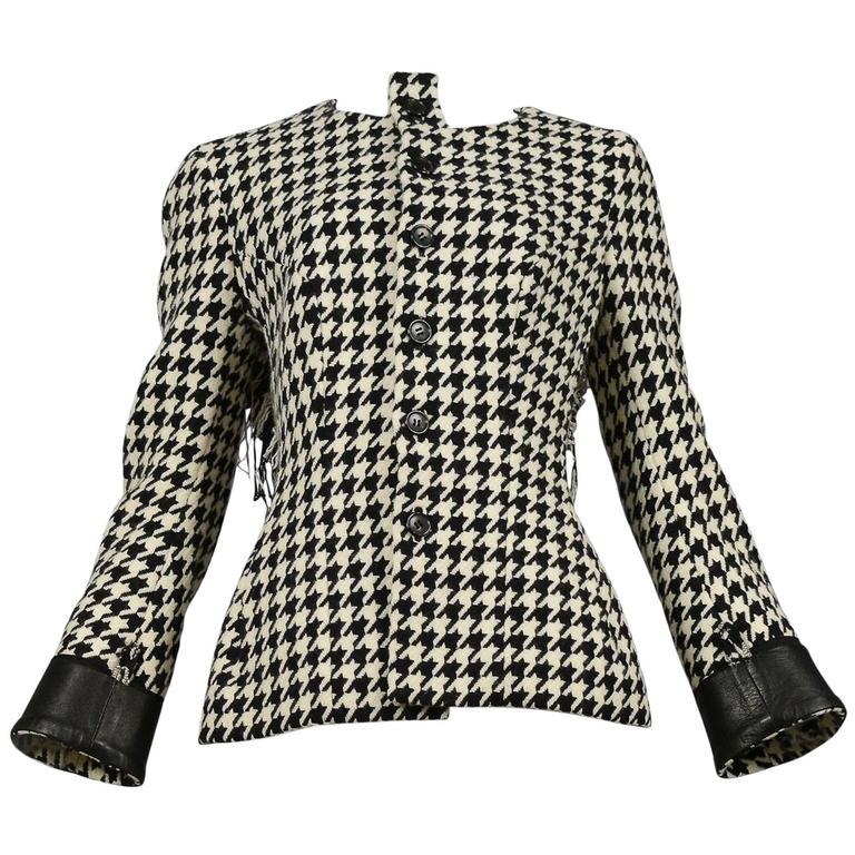 Yohji Yamamoto Houndstooth Jacket With Leather Detail