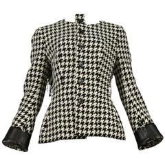 Yohji Yamamoto Houndstooth Jacket With Leather Detail