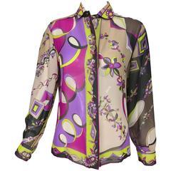 Vintage Pucci printed silk chiffon blouse 1960s