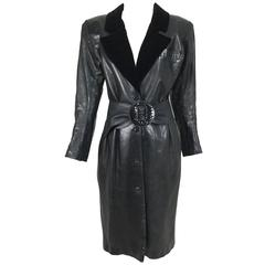 Vintage Yves Saint Laurent black leather belted coat 1980s