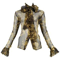 Yves Saint Laurent Gold & Black Sheer Floral Blouse