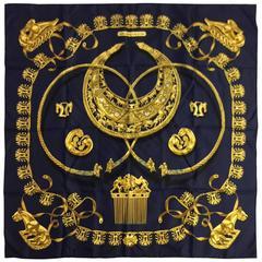 Hermès Black Silk Twill Carre Les Cavaliers D'Or by Vladimir Rybaltchenko