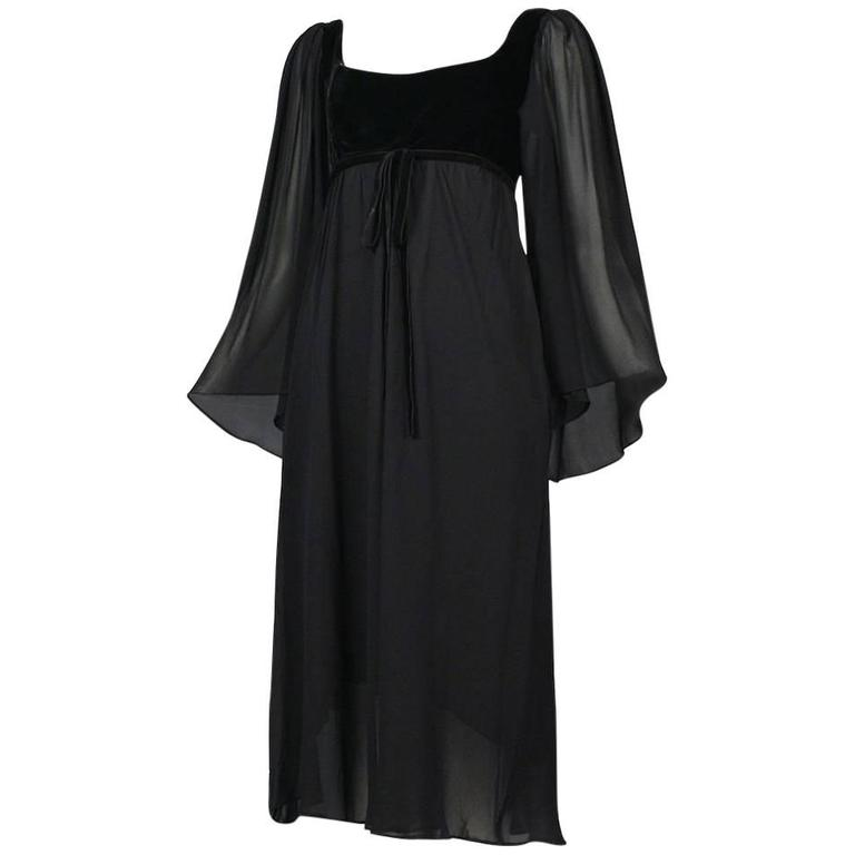 Yves Saint Laurent Black Empire Chiffon Dress For Sale