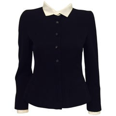 Chanel Black Wook Fitted Jacket With Removable White Silk Collar and Cuffs 36