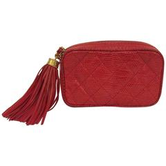 Highly Collectible Chanel Red Lizard Cosmetic Bag With Tassel No. 1103076