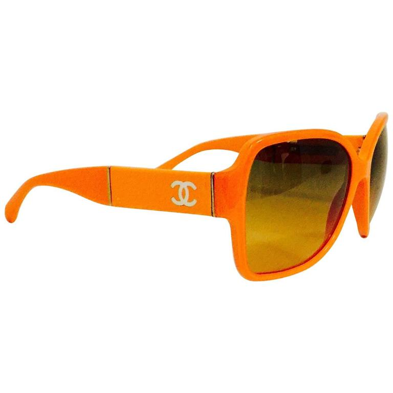 Chanel Orange Large Frame Sunglasses With Gold Tone Accents  1