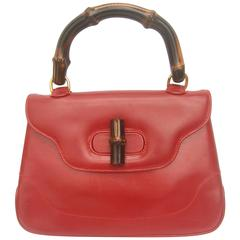 Gucci Italy Iconic Cherry Red Leather Bamboo Handbag in Box