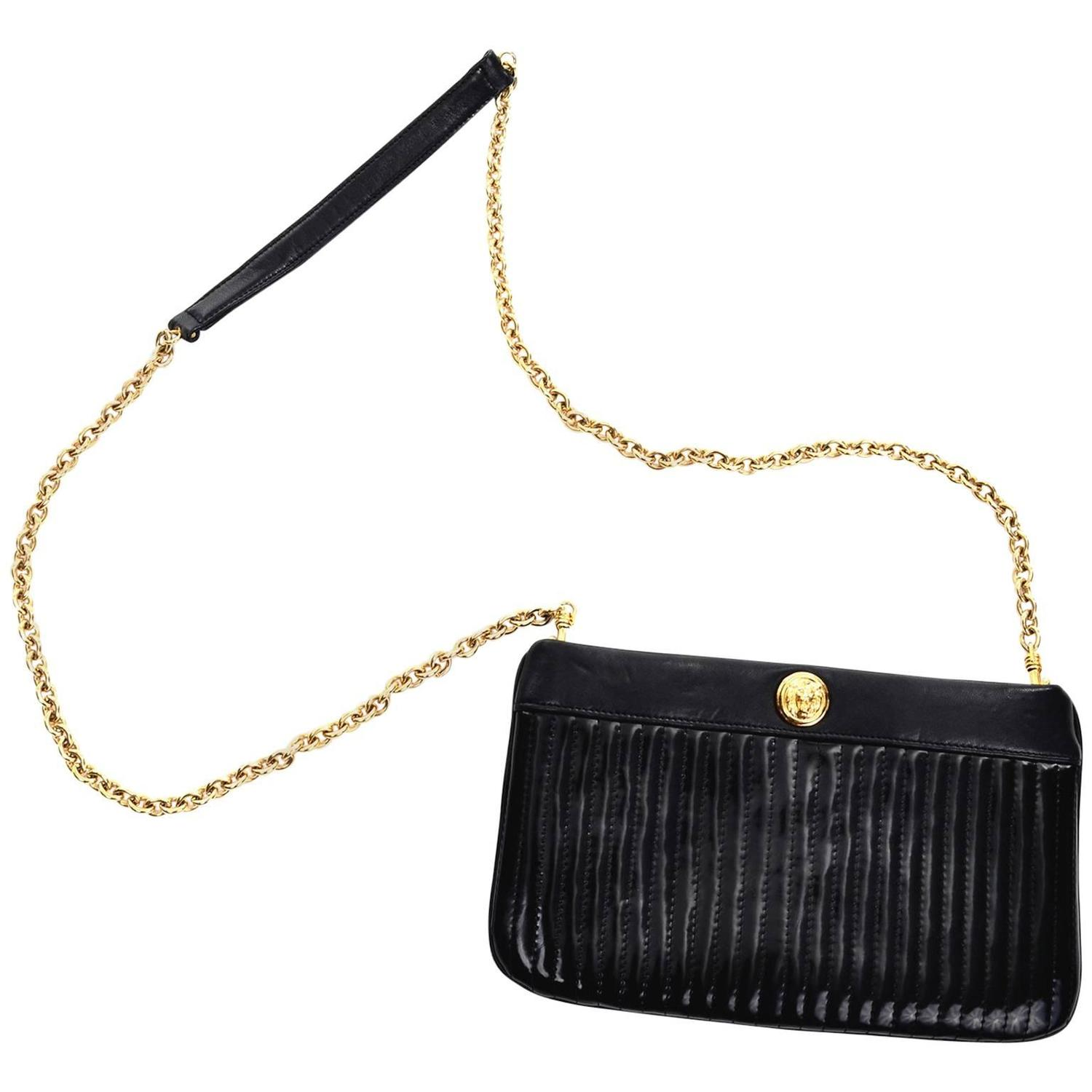 Leather quilted handbags and purses - Anne Klein Vintage Black Leather Quilted Handbag Shoulder Bag Lion Logo