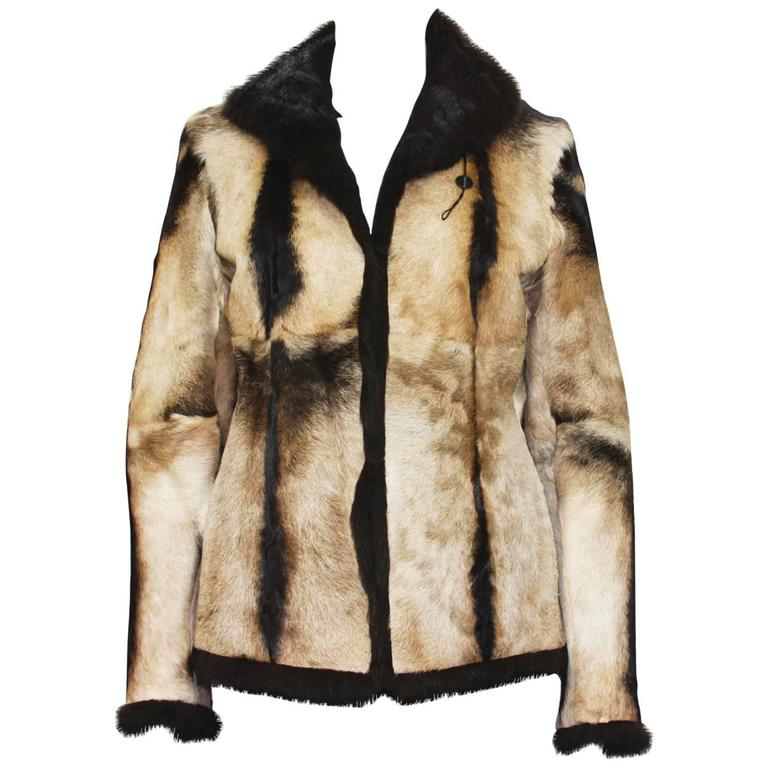 New Tom Ford for Gucci 1999 Collection Reversible Beige Fur Jacket It. 40 1