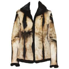 New Tom Ford for Gucci 1999 Collection Reversible Beige Fur Jacket It. 40