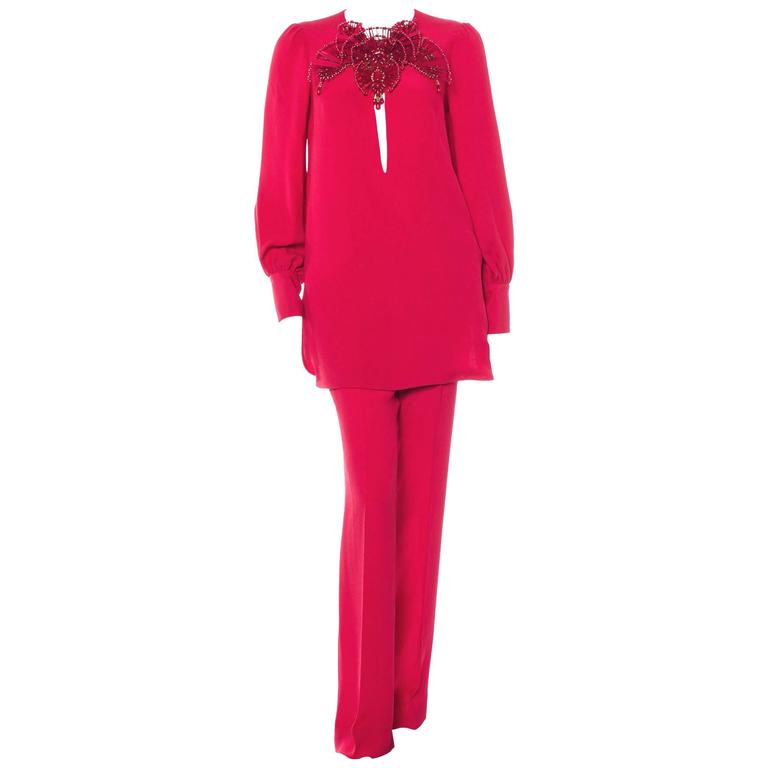 New GUCCI Runway Silk Crystal Bead Embellished Fuchsia Red Pant Suit It. 42 - 6
