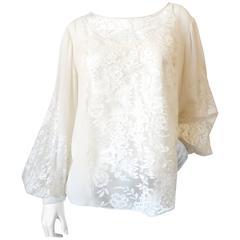 Oscar De La Renta Lace Silk Blouse, 1990s