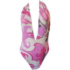 Emilio Pucci Pink Printed Deep V Halter Swimsuit