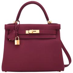 Hermes Bordeaux 28cm Kelly Togo Gold Hardware Red Exquisite