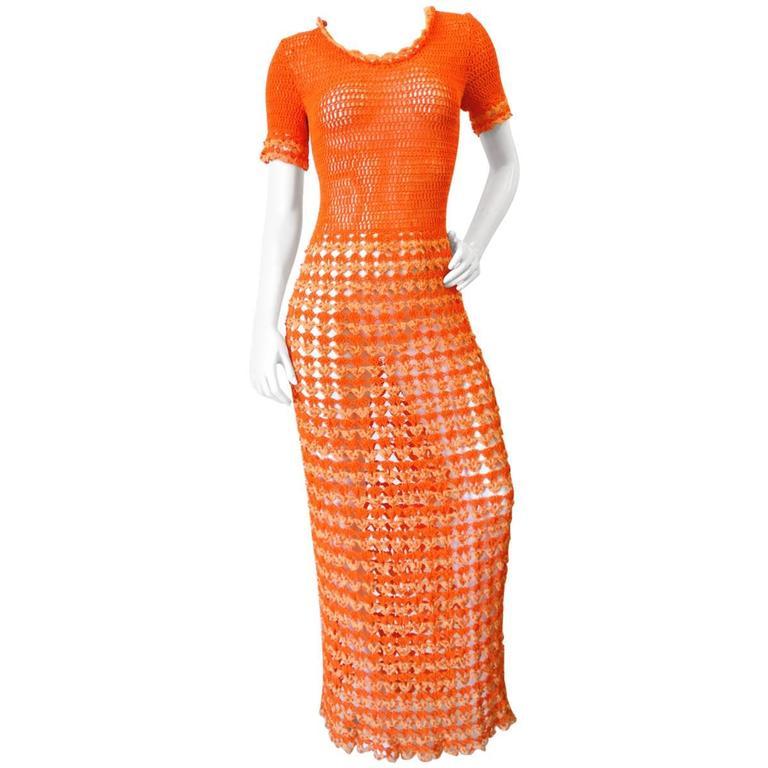 Fabulous 1970s Orange Crochet Gown For Sale