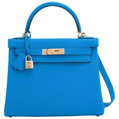 Hermes Blue Zanzibar 28cm Kelly Togo Gold Hardware Summer!